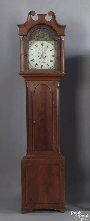 Regency mahogany tall case clock early 19th c