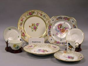 Set of Twelve Bavarian Floral Decorated Porcelain Breakfast Plates Set of Four Meissen Floral Decorated Reticulated Porcelain Bread an
