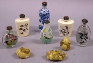 Group of Six Asian Snuff Bottles and Three Carved Resin Netsuke