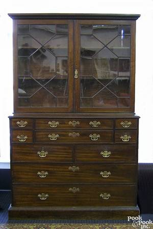 George III mahogany secretary bookcase late 18th c