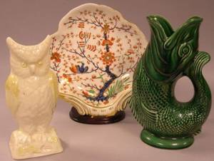 English Imari Palette Porcelain Shrimp Dish a Majolica Fishform Jug and a Belleek Porcelain Owlform Vase