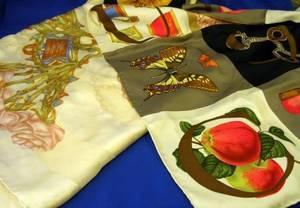 Lalique Silk Scarf and a Gucci Silk Scarf