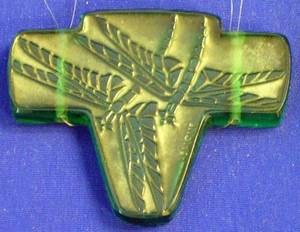 Lalique Molded Green Glass Dragonfly Pendant
