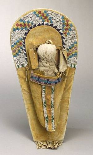 Beaded Hide and Wood Cradle Model