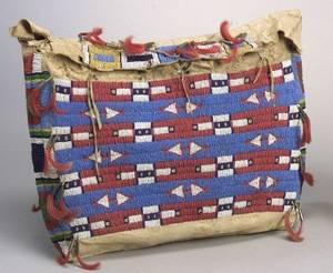 Central Plains Beaded Buffalo Hide Possible Bag