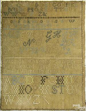 American silk on linen sampler dated 1812