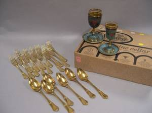 Set of Israeli Wine Cups and Saucers and a Set of Thirteen Russian Gilt Sterling Forks and Six Spoons
