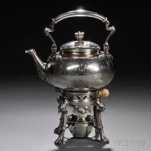 Tiffany  Co Japanesque Sterling Silver Tea Kettle on Stand