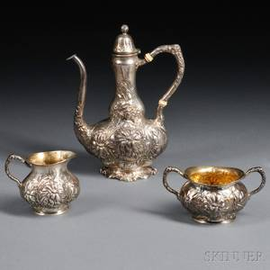 Threepiece Unger Brothers Sterling Silver Coffee Service