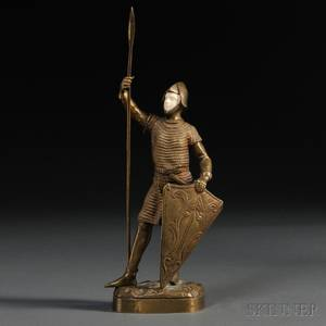 Continental School Early 20th Century Bronze and Ivory Figure of a Knight