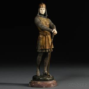 After Raphael Corniziere fl Early 20th Century Spelter and Ivory Figure of a Crusader