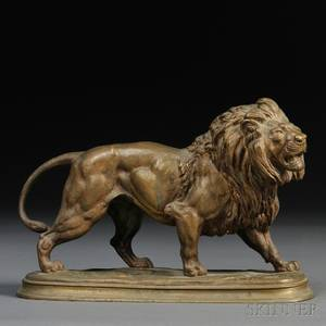 After Paul Edouard Delabrierre French 18291912 Bronze Model of a Lion