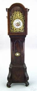 Miniature Regency burlwood veneer tall case clock 19th c