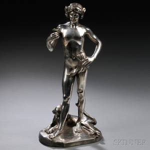 After Jean Antonin Carles French 18511919 Silvered Bronze Figure of a Young Bacchus with a Panther