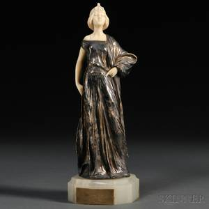 Possibly After Luca Madrassi Italian 18481919 Silvered Bronze and Ivory Figure of Theodora