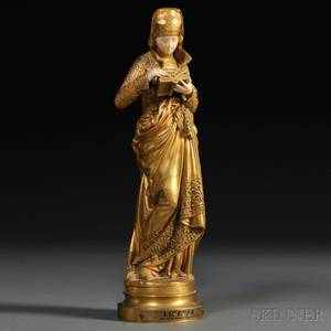 After AlbertErnest CarrierBelluse French 18241887 Giltbronze and Ivory Figure of a Woman Reading