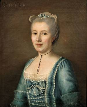 French School 18th Century Portrait of a Lady in Blue