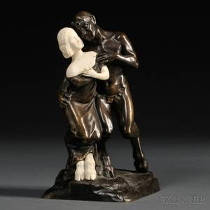 After Peter or Paul Tereszczuk Austrian Late 19thEarly 20th Century Bronze and Ivory Figure of a Satyr and a Faun