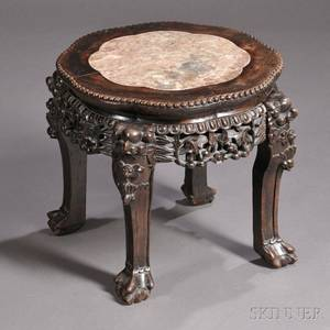 Chinese Export Carved Hardwood and Marbletop Stand