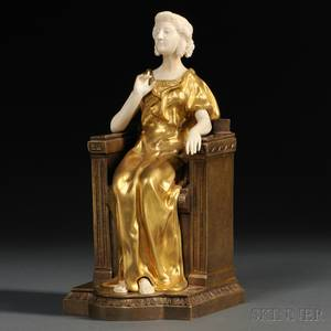 After Theophile Francois Somme French 18711952 Giltbronze and Ivory Figure of a Woman Enthroned