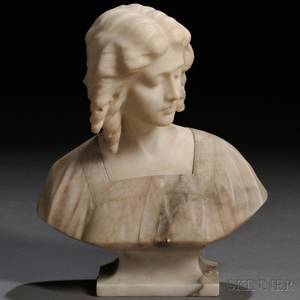 Continental School Late 19thEarly 20th Century Alabaster Bust of a Woman with Curls
