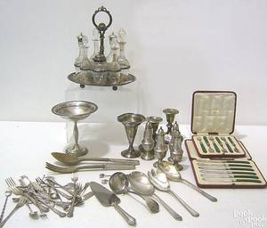 Group of silver plate and weighted sterling silver