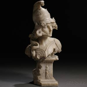 Continental School Late 19thEarly 20th Century Alabaster Bust of a Female Warrior