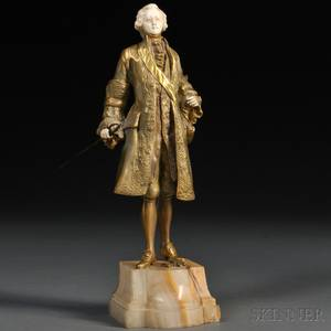 Continental School Early 20th Century Bronze and Ivory Figure of a Courtly Gentleman