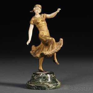 After Georges Omerth French fl 18951925 Art Deco Giltbronze and Ivory Figure of a Dancer