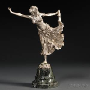 After Claire Jeanne Roberte Colinet French 18801950 Silvercolored Bronze Figure of an Egyptian Dancer