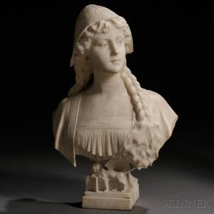 Continental School Late 19thEarly 20th Century Alabaster Bust of a Peasant Woman
