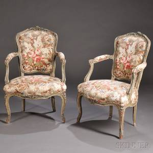 Pair of Louis XVstyle Fauteuil