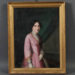 AngloAmerican School 19th Century Portrait of a Lady in Pink