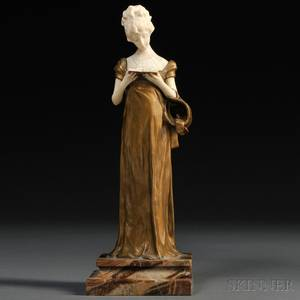 After George van der Straeten Belgian 18561928 Bronze and Ivory Figure of a Woman Reading