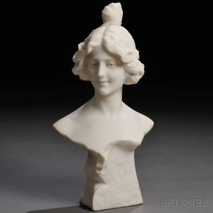 Italian School Late 19thEarly 20th Century Marble Bust of a Smiling Woman