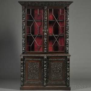 Renaissance Revival Carved Oak Cabinet Bookcase