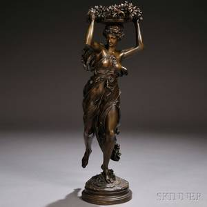 After AlbertErnest CarrierBelleuse French 18241887 Bronze of a Woman with a Basket