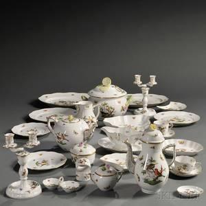 Extensive Herend Rothschild Bird Pattern Luncheon Service