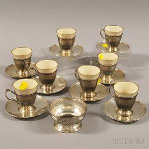 Set of Eight Demitasse Cups and Saucers