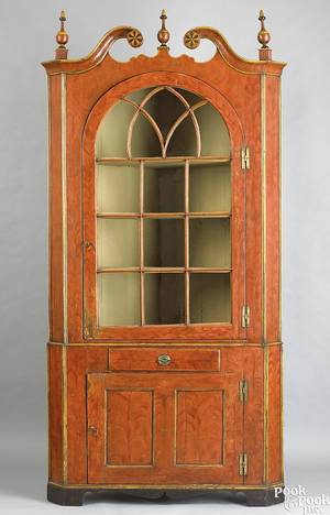 Montgomery County Pennsylvania painted 2part corner cupboard ca 1810
