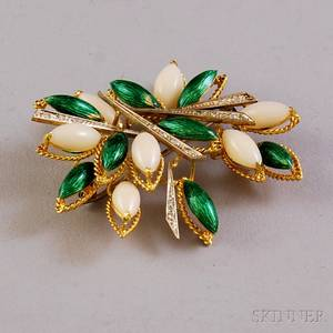 18kt Gold Coral Enamel and Diamond Brooch