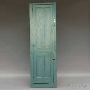 Bluepainted Pine Cupboard with Two Paneled Doors