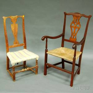 Country Chippendale Maple Armchair and a Transitional Queen Anne Maple Side Chair