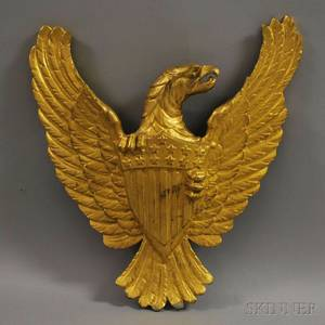 Gilt Cast Metal American Eagle with Shield Wall Plaque