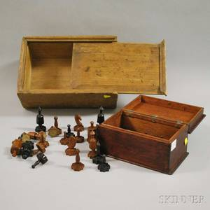 Mahogany Lidded Box with Folk Carved Wood Chess Figures and a Pine Dovetailconstructed Slidelid Box