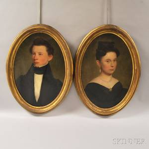 Two 19th Century American School Oil on Canvas Portraits of a Young Man and Woman