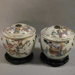 Pair of Chinese Export Porcelain Polychrome Enameldecorated Jars with Covers