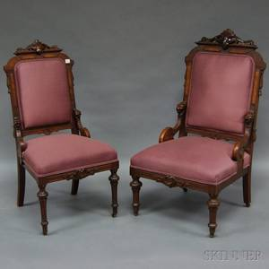 Two Victorian Renaissance Revival Upholstered Carved Walnut Parlor Chairs