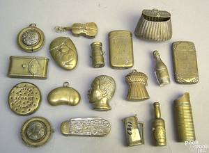 Eighteen brass and mixed metal match safes