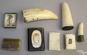 Eight boneivory match safes